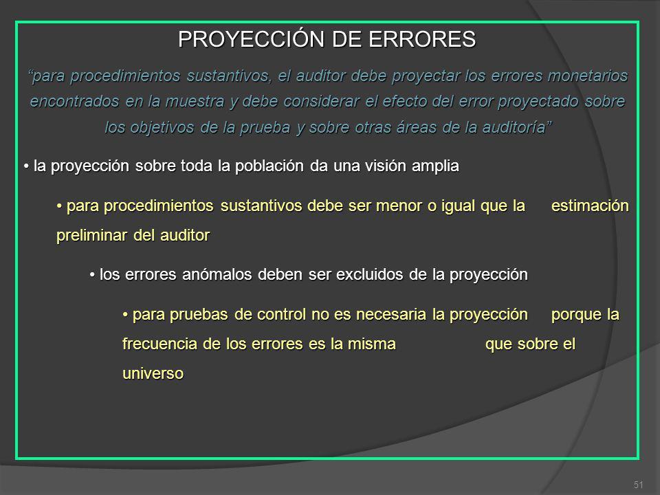 51 PROYECCIÓN DE ERRORES para procedimientos sustantivos, el auditor debe proyectar los errores monetarios encontrados en la muestra y debe considerar