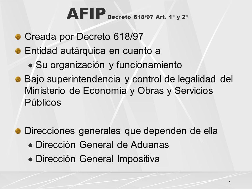 1 AFIP Decreto 618/97 Art.