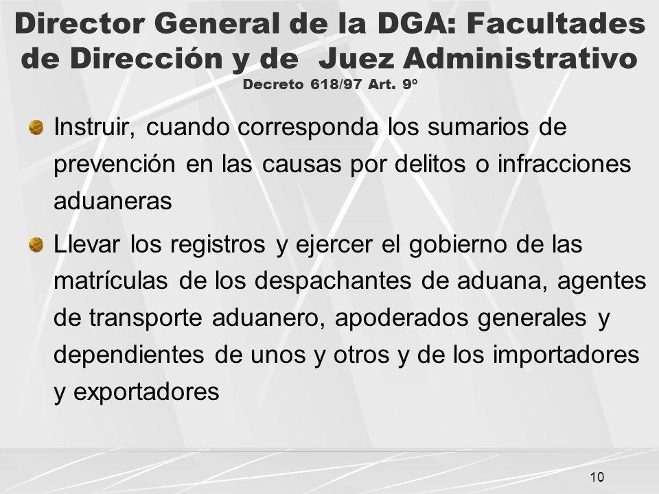 10 Director General de la DGA: Facultades de Dirección y de Juez Administrativo Decreto 618/97 Art.