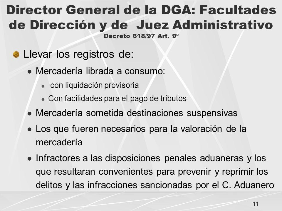 11 Director General de la DGA: Facultades de Dirección y de Juez Administrativo Decreto 618/97 Art.