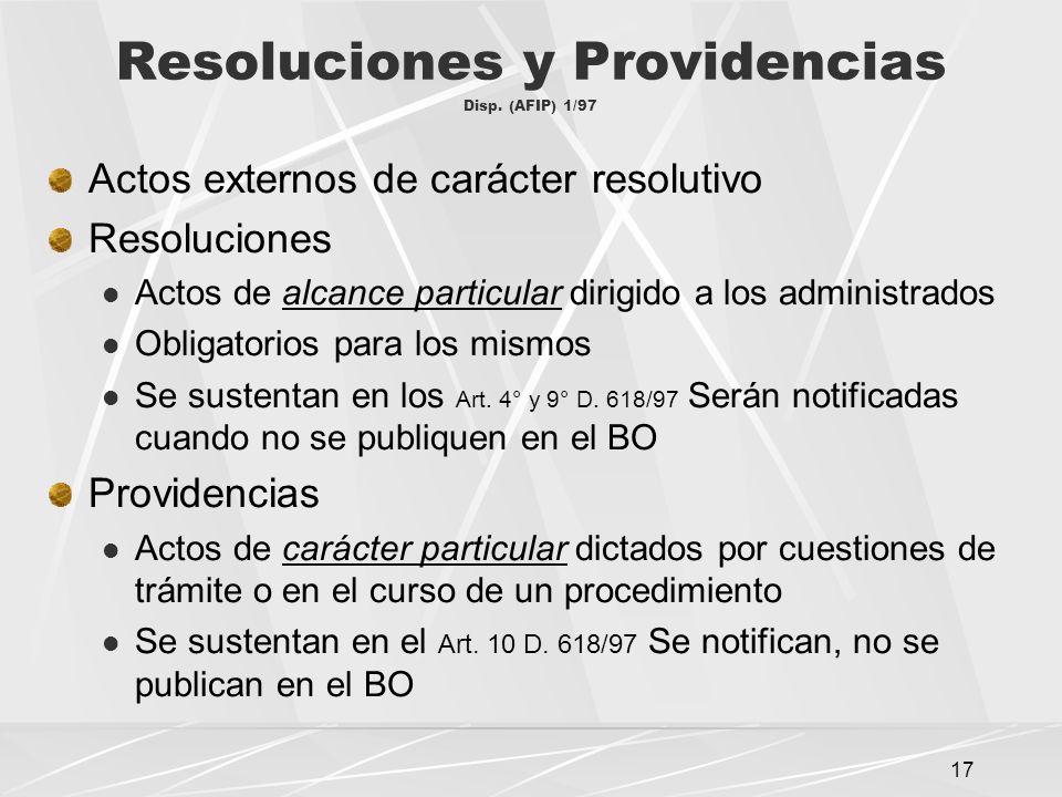 17 Resoluciones y Providencias Disp.