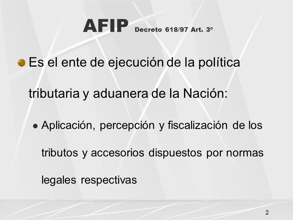 13 Organización del Servicio Aduanero Decreto 618/97 Art.