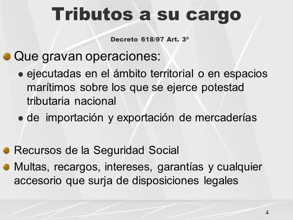 4 Tributos a su cargo Decreto 618/97 Art.