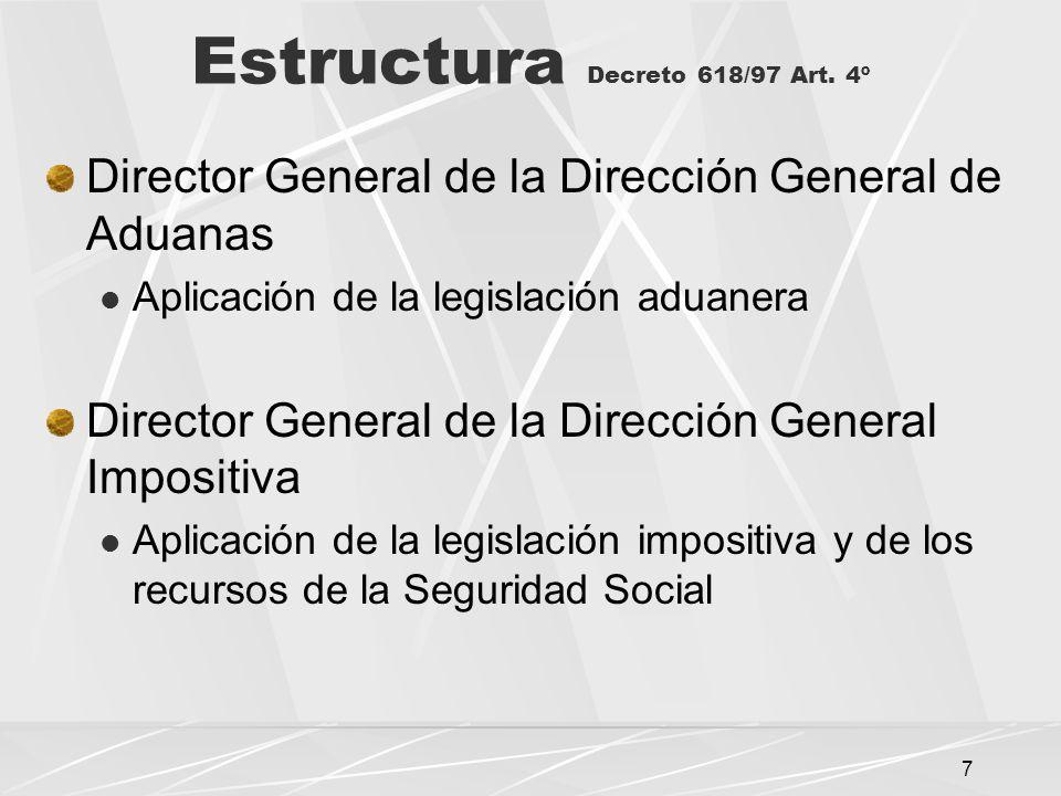 8 Director General de la DGA: Facultades de Dirección y de Juez Administrativo Decreto 618/97 Art.