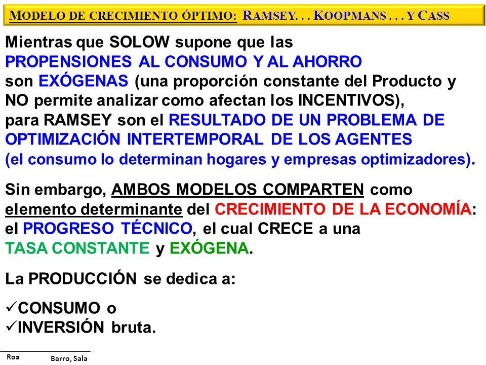 M ODELO DE CRECIMIENTO ÓPTIMO: R AMSEY...K OOPMANS...