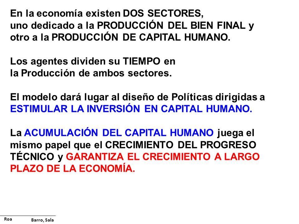 En la economía existen DOS SECTORES, uno dedicado a la PRODUCCIÓN DEL BIEN FINAL y otro a la PRODUCCIÓN DE CAPITAL HUMANO. Los agentes dividen su TIEM