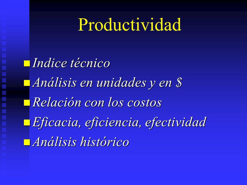 Indice técnico Indice técnico Análisis en unidades y en $ Análisis en unidades y en $ Relación con los costos Relación con los costos Eficacia, eficie