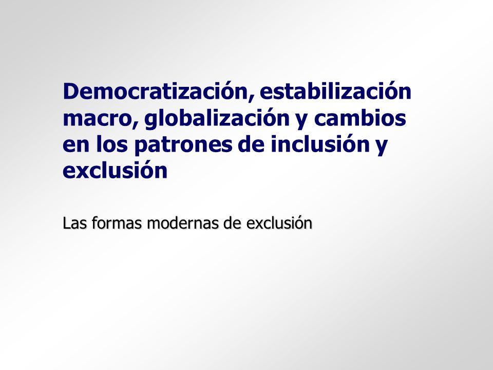 Democratización, estabilización macro, globalización y cambios en los patrones de inclusión y exclusión Las formas modernas de exclusión