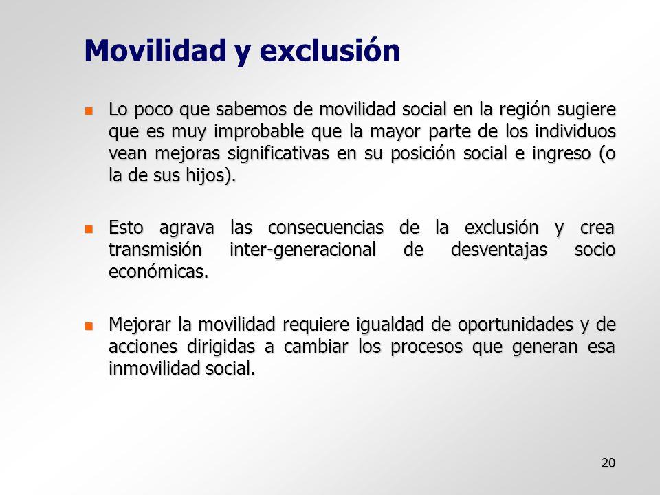 20 Movilidad y exclusión Lo poco que sabemos de movilidad social en la región sugiere que es muy improbable que la mayor parte de los individuos vean mejoras significativas en su posición social e ingreso (o la de sus hijos).