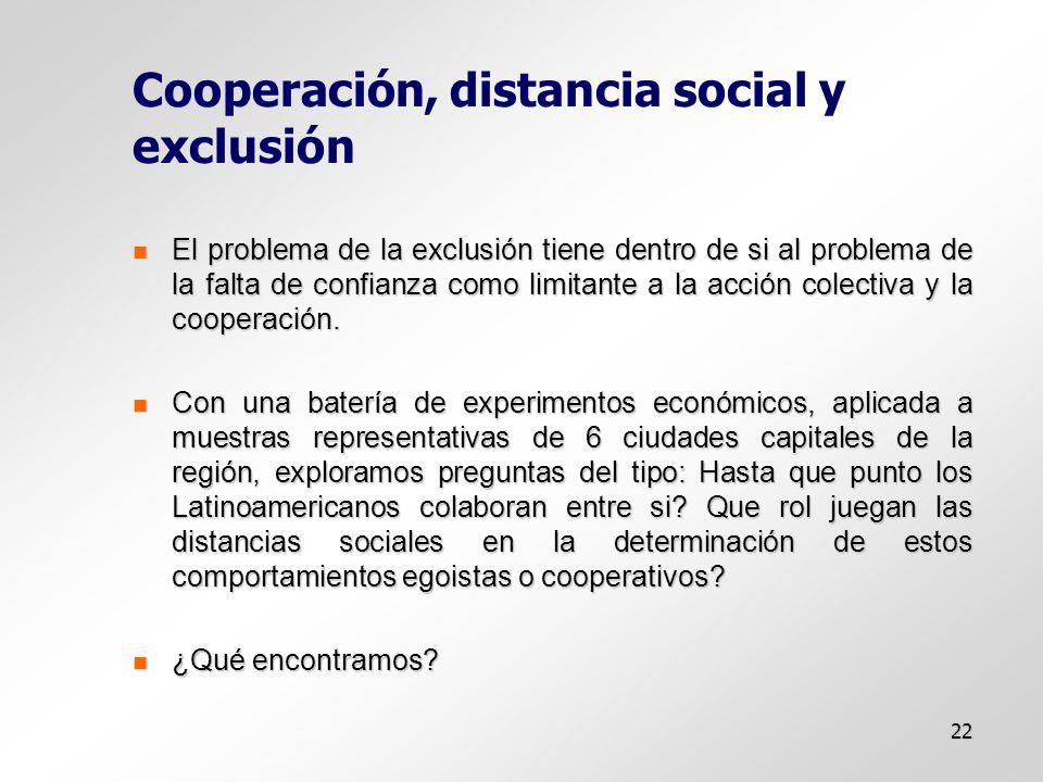 22 Cooperación, distancia social y exclusión El problema de la exclusión tiene dentro de si al problema de la falta de confianza como limitante a la acción colectiva y la cooperación.