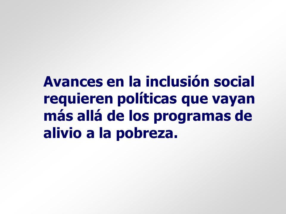Avances en la inclusión social requieren políticas que vayan más allá de los programas de alivio a la pobreza.