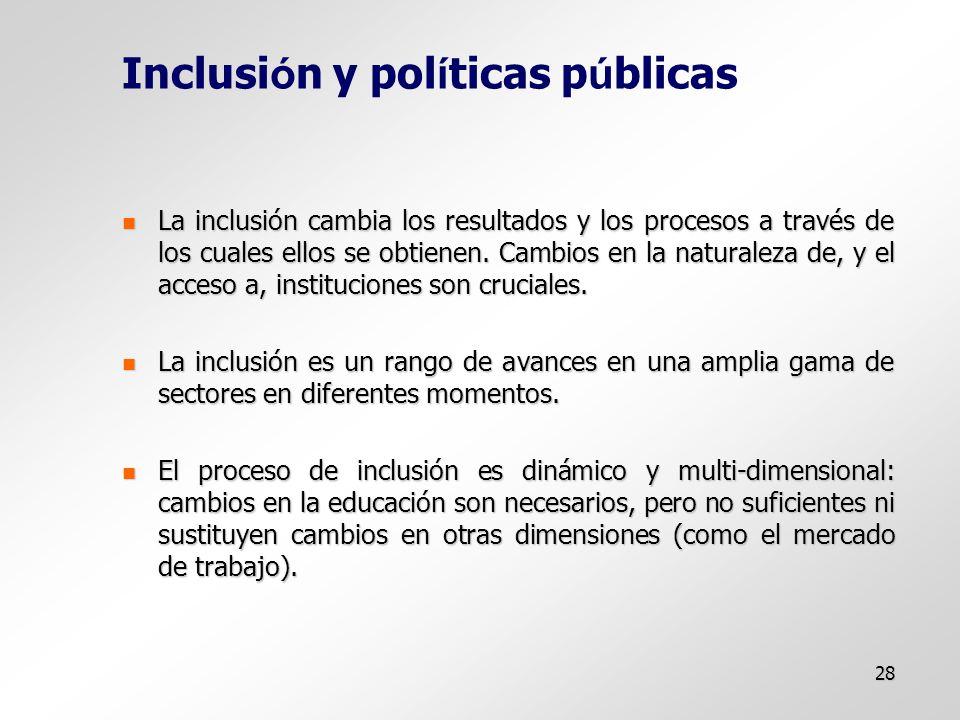 28 Inclusi ó n y pol í ticas p ú blicas La inclusión cambia los resultados y los procesos a través de los cuales ellos se obtienen.