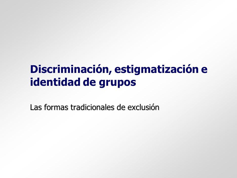 Discriminación, estigmatización e identidad de grupos Las formas tradicionales de exclusión