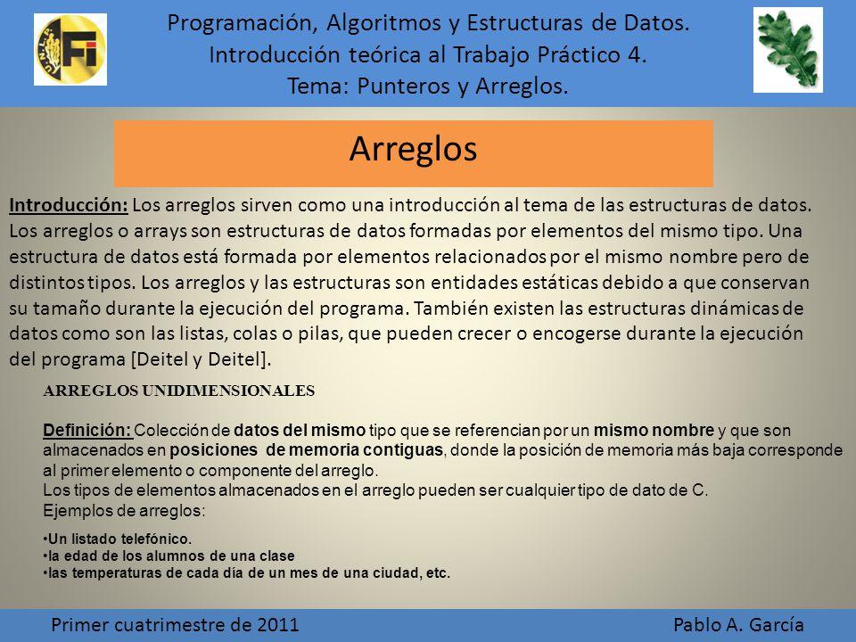 Programación, Algoritmos y Estructuras de Datos.Introducción teórica al Trabajo Práctico 4.