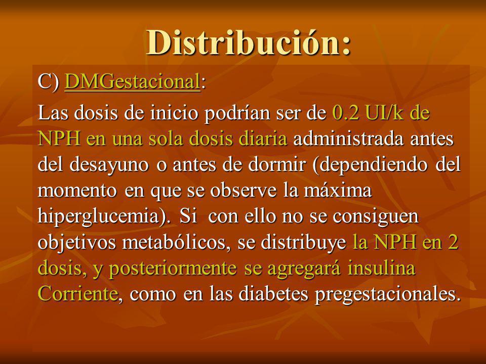 Distribución: B) DMID: Es habitual la utilización de múltiples dosis de insulina, 1 ó más de insulina NPH para mantener los niveles preprandial adecuados e insulina corriente en cada una de las comidas principales para evitar hiperglucemias postprandiales.