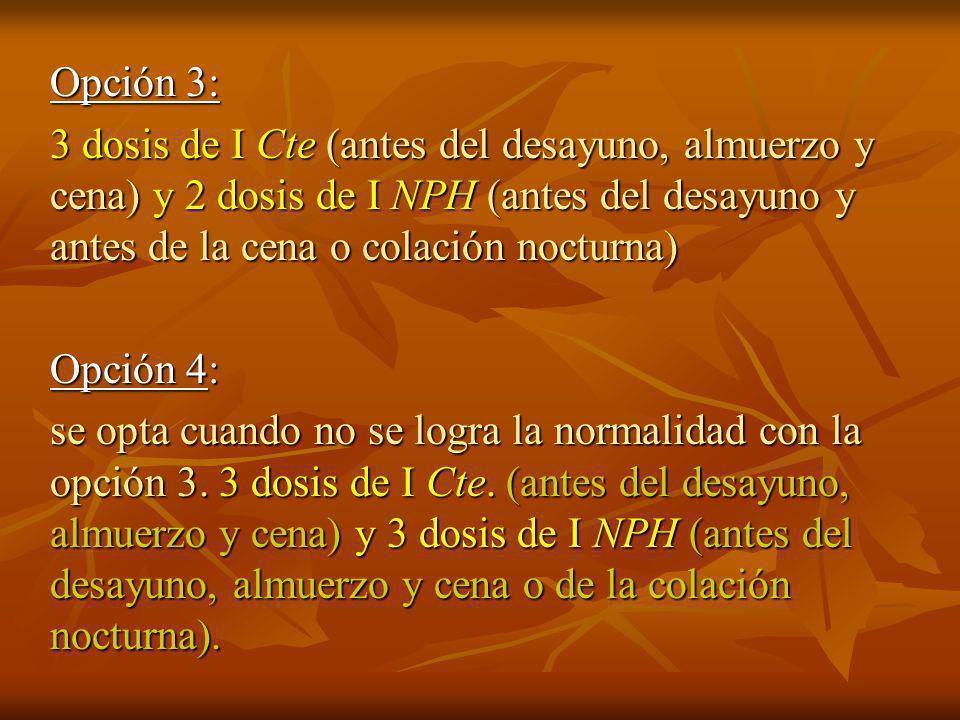 Opción 2: 3 dosis de I Cte.y 1 dosis de NPH.