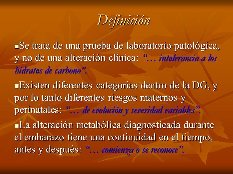 Definición Definición Se trata de una prueba de laboratorio patológica, y no de una alteración clínica: … intolerancia a los hidratos de carbono.