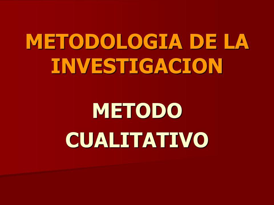 INVESTIGACION CUALITATIVA Método inductivo: Método inductivo: Se analizan solo casos particulares, cuyos resultados son tomados para extraer conclusiones de carácter general.