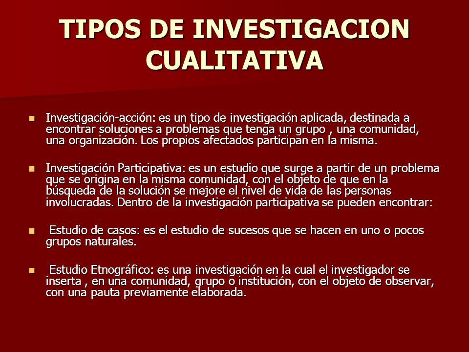 TIPOS DE INVESTIGACION CUALITATIVA Investigación-acción: es un tipo de investigación aplicada, destinada a encontrar soluciones a problemas que tenga