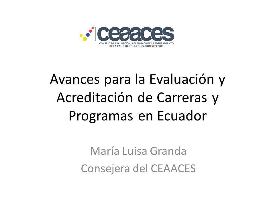 Avances para la Evaluación y Acreditación de Carreras y Programas en Ecuador María Luisa Granda Consejera del CEAACES