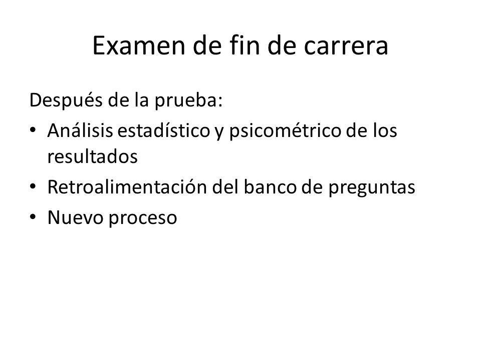 Examen de fin de carrera Después de la prueba: Análisis estadístico y psicométrico de los resultados Retroalimentación del banco de preguntas Nuevo proceso