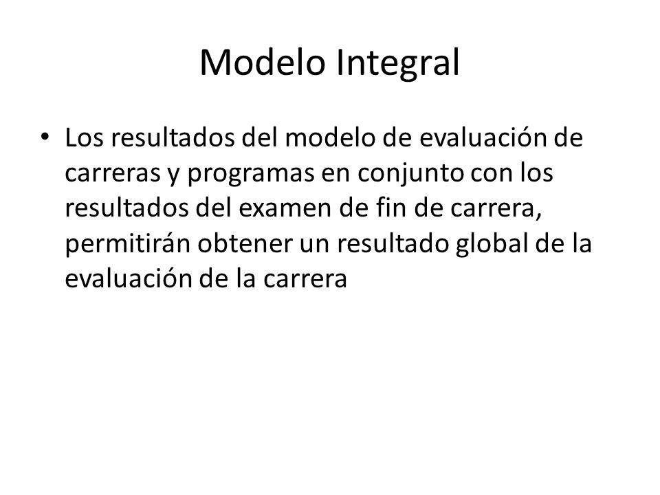 Modelo Integral Los resultados del modelo de evaluación de carreras y programas en conjunto con los resultados del examen de fin de carrera, permitirán obtener un resultado global de la evaluación de la carrera