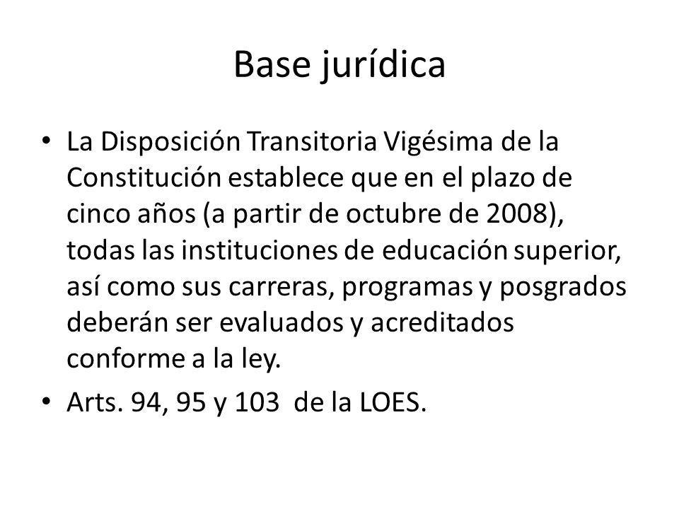 Base jurídica La Disposición Transitoria Vigésima de la Constitución establece que en el plazo de cinco años (a partir de octubre de 2008), todas las instituciones de educación superior, así como sus carreras, programas y posgrados deberán ser evaluados y acreditados conforme a la ley.