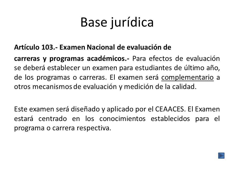 Base jurídica Artículo 103.- Examen Nacional de evaluación de carreras y programas académicos.- Para efectos de evaluación se deberá establecer un examen para estudiantes de último año, de los programas o carreras.