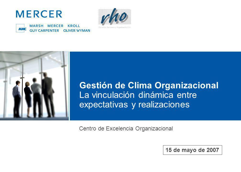 Gestión de Clima Organizacional La vinculación dinámica entre expectativas y realizaciones Centro de Excelencia Organizacional 15 de mayo de 2007