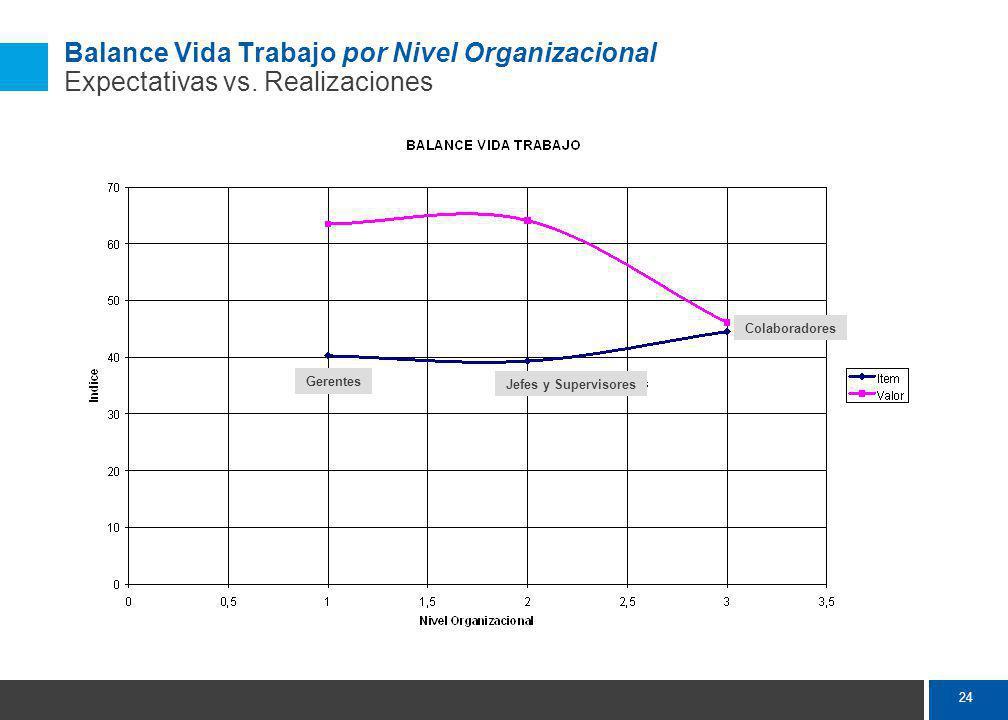 24 Balance Vida Trabajo por Nivel Organizacional Expectativas vs.