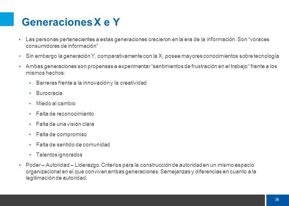 36 Generaciones X e Y Las personas pertenecientes a estas generaciones crecieron en la era de la información.