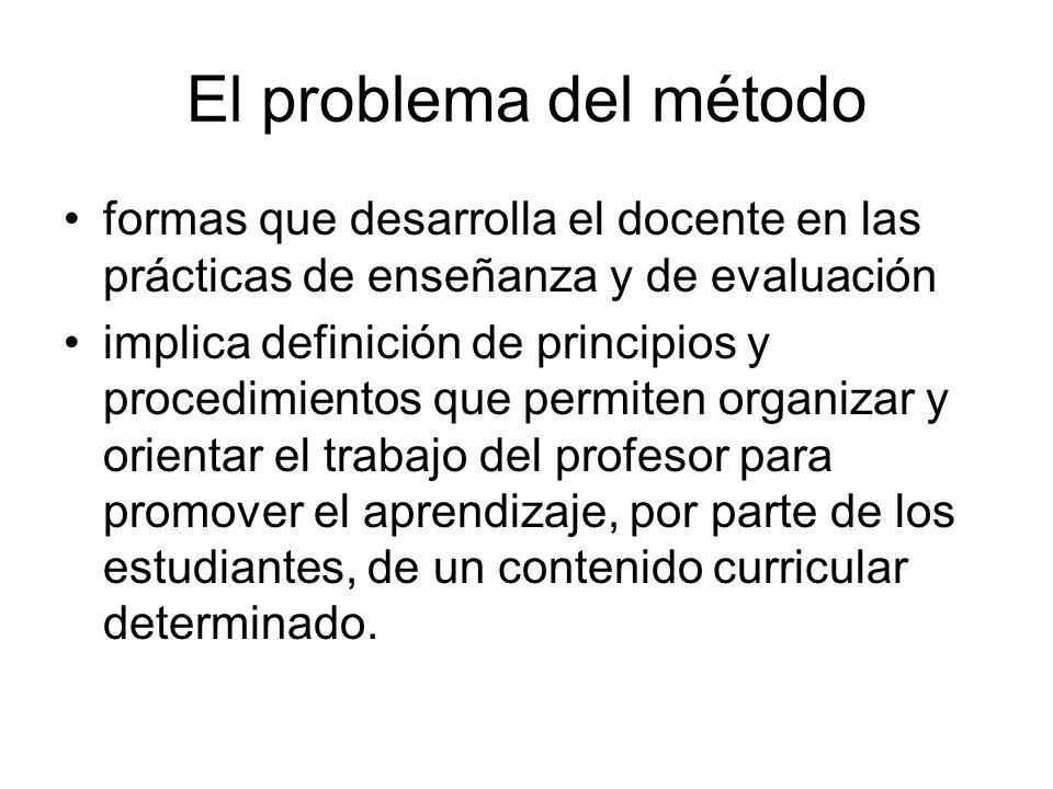El problema del método formas que desarrolla el docente en las prácticas de enseñanza y de evaluación implica definición de principios y procedimientos que permiten organizar y orientar el trabajo del profesor para promover el aprendizaje, por parte de los estudiantes, de un contenido curricular determinado.