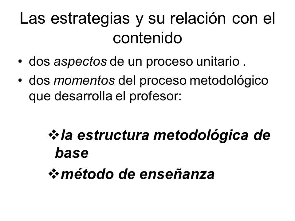 Las estrategias y su relación con el contenido dos aspectos de un proceso unitario.
