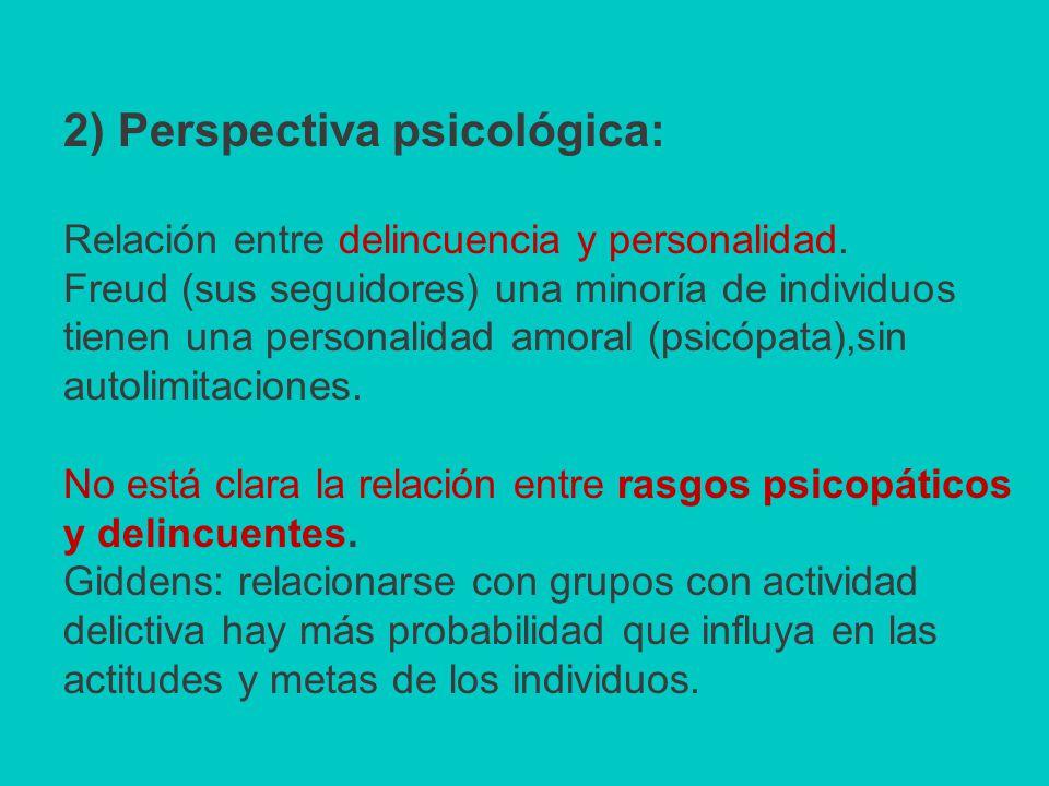 2) Perspectiva psicológica: Relación entre delincuencia y personalidad.