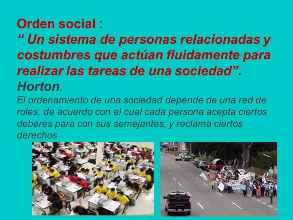 Orden social : Un sistema de personas relacionadas y costumbres que actúan fluidamente para realizar las tareas de una sociedad.