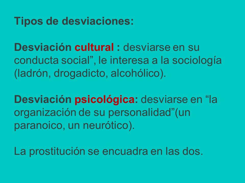 Tipos de desviaciones: Desviación cultural : desviarse en su conducta social, le interesa a la sociología (ladrón, drogadicto, alcohólico).