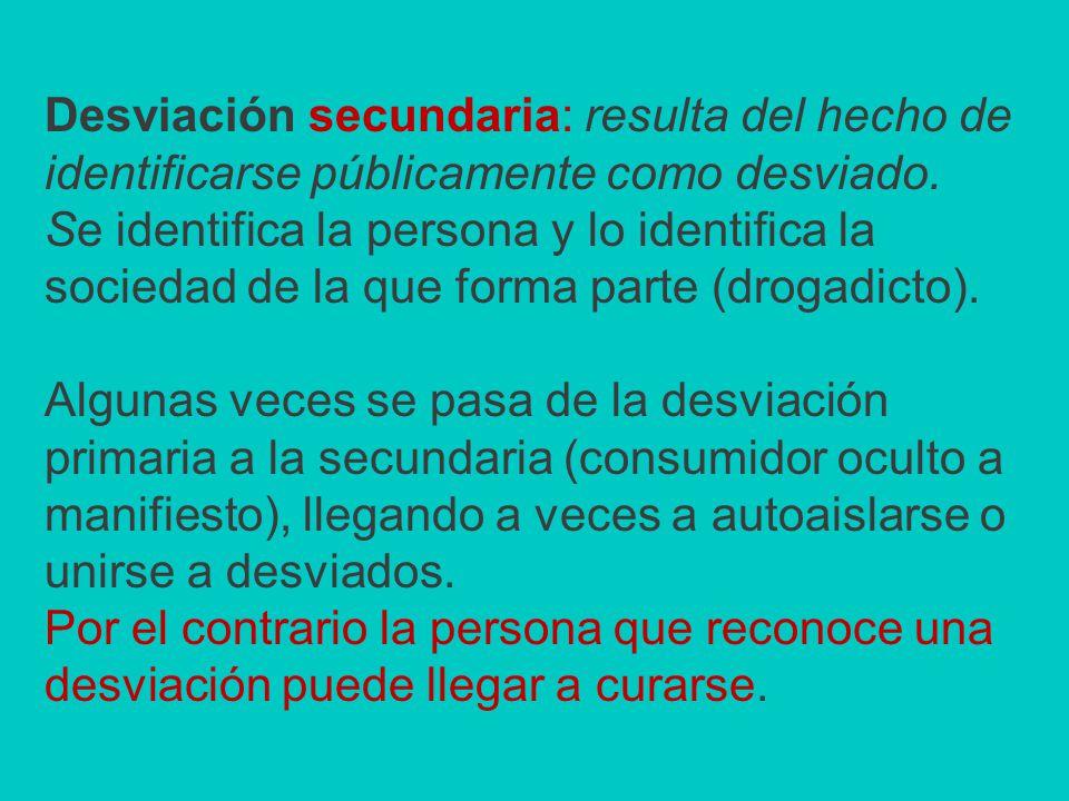 Desviación secundaria: resulta del hecho de identificarse públicamente como desviado.