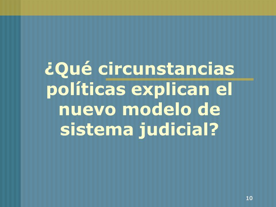 10 ¿Qué circunstancias políticas explican el nuevo modelo de sistema judicial?