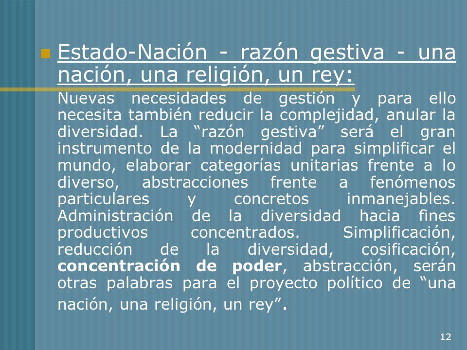 12 Estado-Nación - razón gestiva - una nación, una religión, un rey: Nuevas necesidades de gestión y para ello necesita también reducir la complejidad