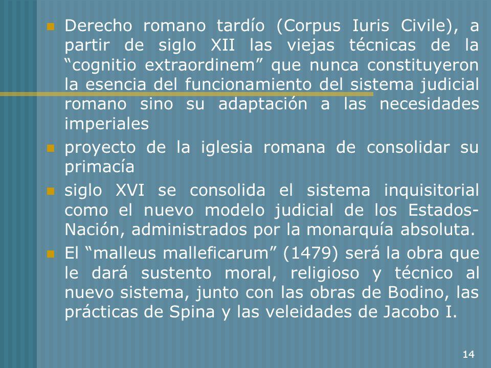 14 Derecho romano tardío (Corpus Iuris Civile), a partir de siglo XII las viejas técnicas de la cognitio extraordinem que nunca constituyeron la esenc