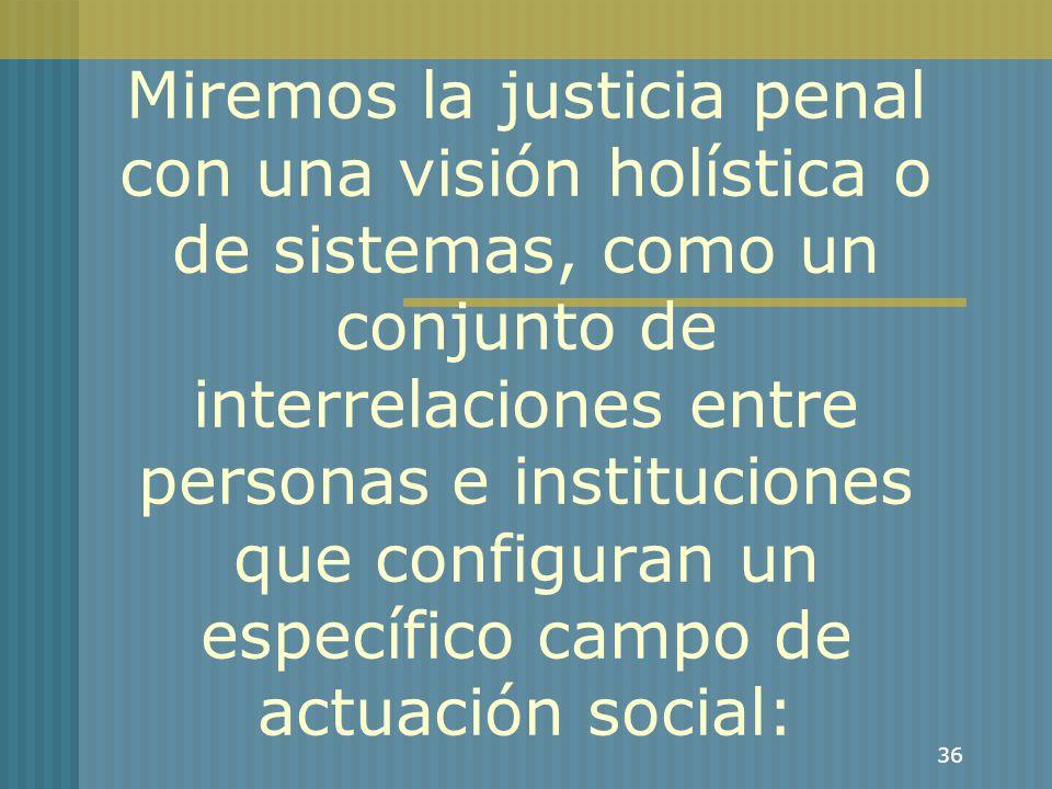 36 Miremos la justicia penal con una visión holística o de sistemas, como un conjunto de interrelaciones entre personas e instituciones que configuran