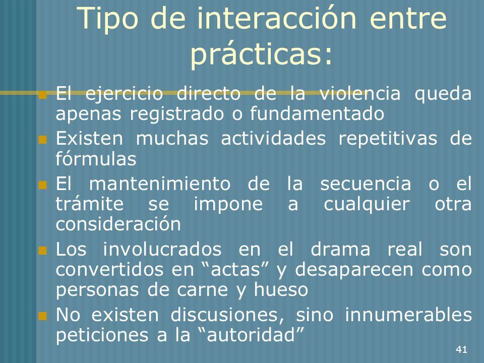 41 Tipo de interacción entre prácticas: El ejercicio directo de la violencia queda apenas registrado o fundamentado Existen muchas actividades repetit