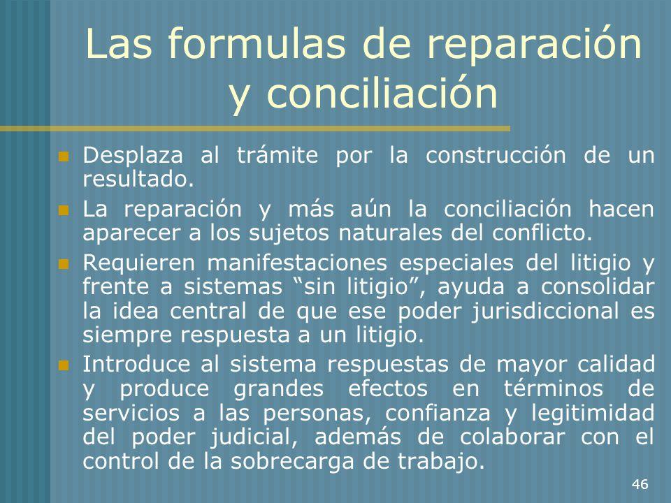 46 Las formulas de reparación y conciliación Desplaza al trámite por la construcción de un resultado. La reparación y más aún la conciliación hacen ap