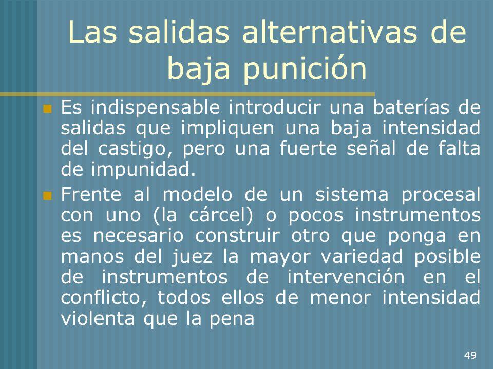 49 Las salidas alternativas de baja punición Es indispensable introducir una baterías de salidas que impliquen una baja intensidad del castigo, pero u