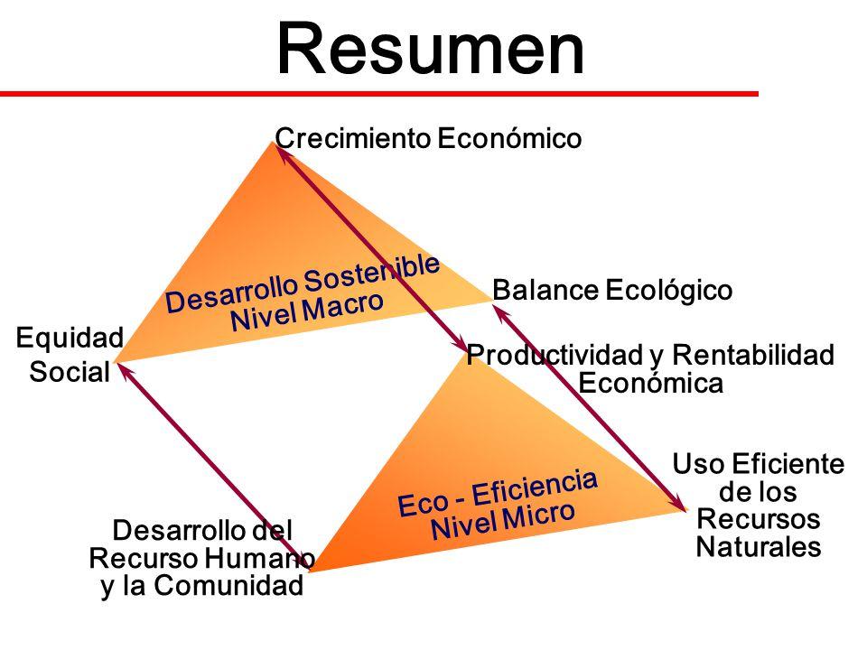 Resumen Eco - Eficiencia Nivel Micro Desarrollo Sostenible Nivel Macro Crecimiento Económico Equidad Social Balance Ecológico Productividad y Rentabil