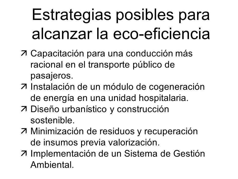 Estrategias posibles para alcanzar la eco-eficiencia äCapacitación para una conducción más racional en el transporte público de pasajeros. äInstalació