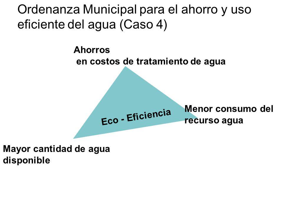 Mayor cantidad de agua disponible Eco - Eficiencia Menor consumo del recurso agua Ahorros en costos de tratamiento de agua Ordenanza Municipal para el