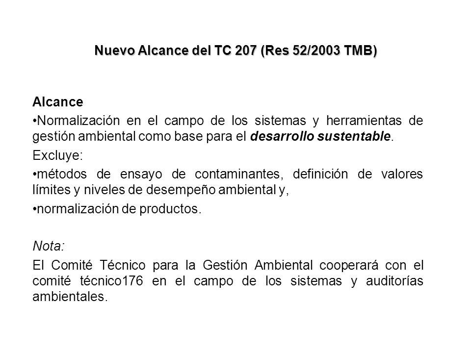 Nuevo Alcance del TC 207 (Res 52/2003 TMB) Alcance Normalización en el campo de los sistemas y herramientas de gestión ambiental como base para el des
