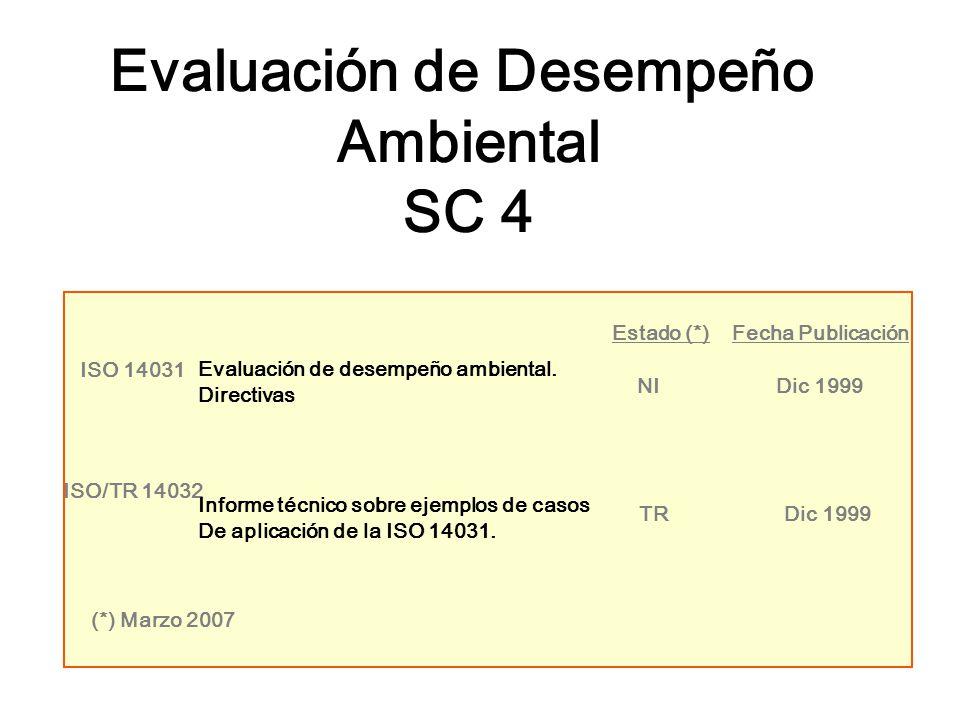 Evaluación de Desempeño Ambiental SC 4 ISO 14031 Evaluación de desempeño ambiental. Directivas NIDic 1999 Estado (*)Fecha Publicación TRDic 1999 ISO/T