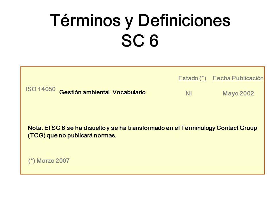 ISO 14050 Gestión ambiental. Vocabulario NIMayo 2002 Estado (*)Fecha Publicación Nota: El SC 6 se ha disuelto y se ha transformado en el Terminology C